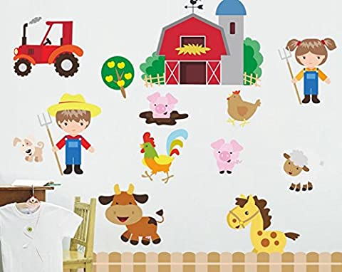 Skyllc® Cartoon Farmhouse Mural Happy farm Wall Stickers Children's Room Decor Nursery Early Childhood Cartoon Decor Decals