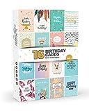 Joy MastersTM, Geburtstagskarten-Set Vol.3, Box mit mehreren Karten und weißen Umschlägen, großartiges Set für Männer und Frauen, 16 Stück
