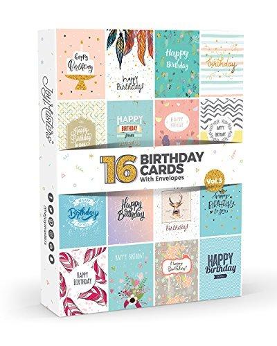 (Joy MastersTM, Geburtstagskarten-Set Vol.3, Box mit mehreren Karten und weißen Umschlägen, großartiges Set für Männer und Frauen, 16 Stück)