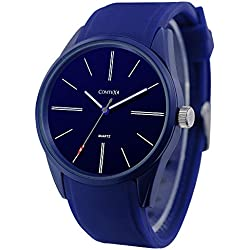 COMTEX Men's Quartz Watch with Blue Silicone Band Simple Sports Wrist Watch