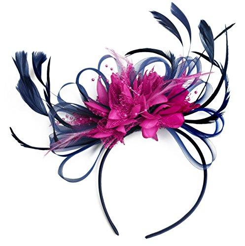 Bleu marine/rose vif Bleu roi cheveux bibi avec plume pour mariage Royal Ascot et de courses pour femme