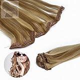 Clip in Extensions 60 cm 5 Teile glatt Haarverlängerung Haarteil 100% Remy Echthaar Human Hair Farbe: 18/613 Dunkelblond Hellichtblond gesträhnt