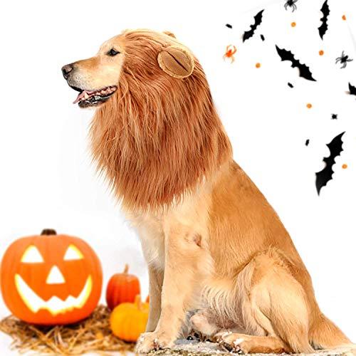 Hund Katze Löwe Mähne Perücke mit Ohren, verstellbare Bequeme Haustier Kostüm, Phantasie Löwe Haar Kleid für Halloween Weihnachten Ostern Festival Party Aktivurlaub Fotoshootings (Lion's Mane Hunde Kostüm)