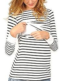 Vin beauty wlgreatsp Maternité Allaitement Maternel Rayé Sweat Shirt pour Les Soins Infirmiers Enceintes