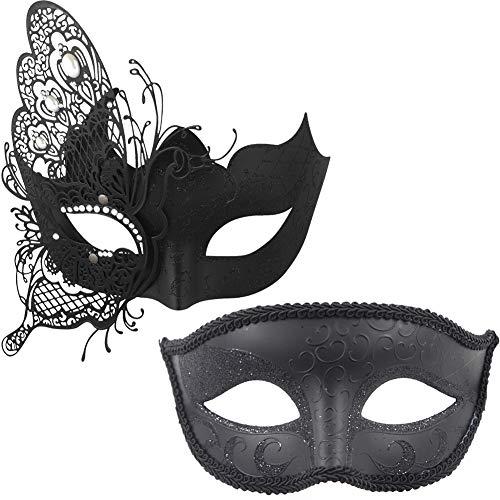 Paare Maske für Karnevalskostüm, Maskerade, Party, für Erwachsene schwarz (Paare Halloween-kostüm Erwachsene)