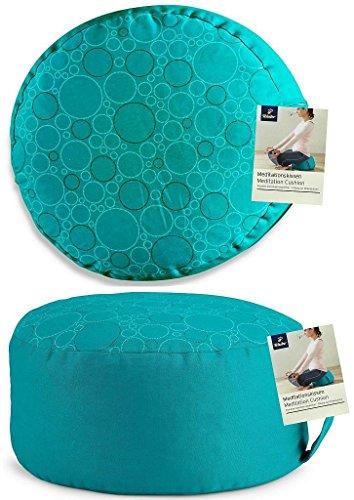 tcm-tchibo-meditation-yoga-cushion-with-carry-handle-petrol-30-cm-diameter