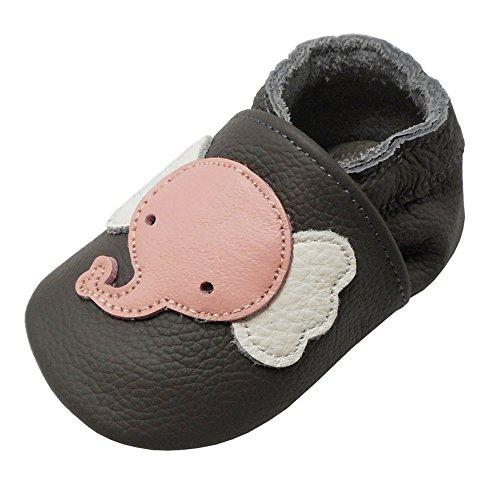 YALION Baby Weiche Leder Lauflernschuhe Krabbelschuhe Hausschuhe Lederpuschen Elefant Dunkelgrau (12-18 Monate, Dunkelgrau)