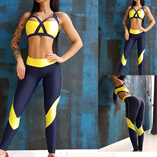 TIMEMEAN Damen Sportbekleidung Schulter Brustplatte Oben Gamaschen Fitnesshose Yoga Sport Passen