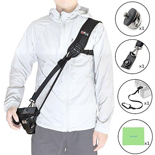 Focus Qualitativ hochwertige schnelle Rapid Sling Gürtel Hals Tragegurt für Canon Nikon Sony Pentax Panasonic Olympus Kameras (schwarz)