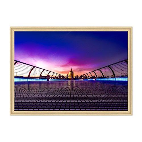 Bild auf Leinwand Canvas - fertig zum Aufhängen - London UK - Westeminster - BigBen - England Dimensione: 70x100cm C - Colore Legno Naturale Contemporaneo
