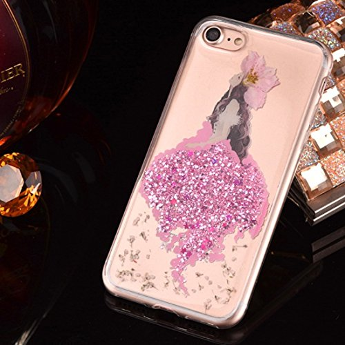 JING Pour iPhone 6 Plus / 6s Plus, Epoxy Dripping Pressed Real Dried Flower Glitter Powder Mermaid Soft TPU Housse de protection arrière ( Color : Silver ) Magenta