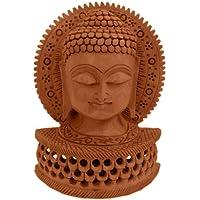 Little India Buddha Statua in legno intagliato a tema religioso, colore: marrone
