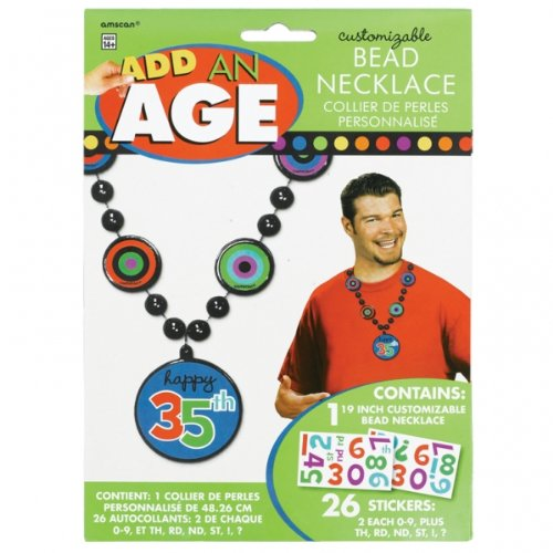 Punkte und Streifen add-an-age Bead Halskette für Ihn (Individuelle Geburtstags-banner)