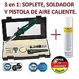 A Gas professionelle Akku 3/1Heißluft Löten, Lötlampe, neue A GAS Lötkolben mit Koffer und Flasche Gas extra Refill