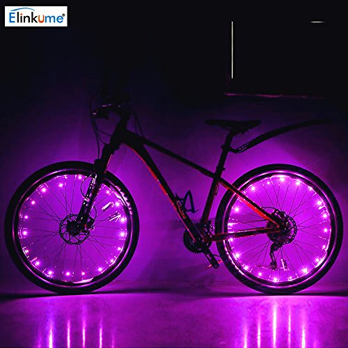 ELINKUME LED Fahrrad sprach Rad Sicherheit Licht Rad Push Bike Mountain Fahrradbeleuchtung (rosa)