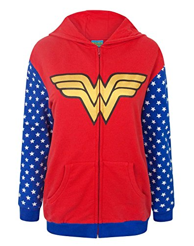 Official DC Comics Wonder Woman Logo Women's Zip-Up Hoodie