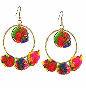 Crunchy Fashion Jewellery Pompom Multicolor Brass Dangle & Drop Earrings For Women