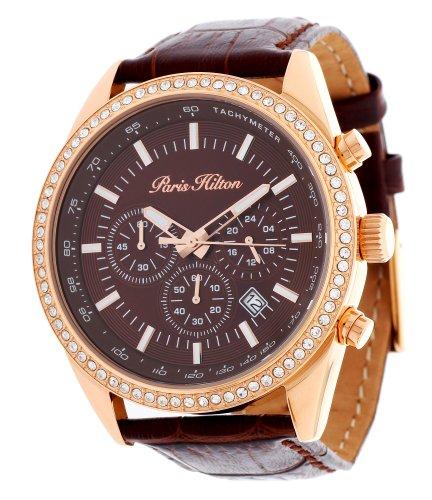 paris-hilton-damen-armbanduhr-chronograph-braun-ph13653j
