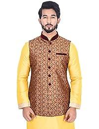Manyavar Men's Regular Fit Sleeveless Designer Nehru Jacket