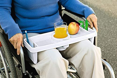 Schoßtablett MedCom Bein-Tablett Ablage für Rollstuhlfahrer mit 7 Fächern für Getränk, Stiftefach, Essensablage, Pillenfach usw. mit Sicherungskante - Essen & Trinken - Freizeit & Hobby