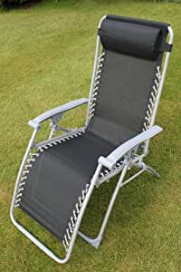 SET OF 2 Garden sun Lounger Relaxer Reclining Chairs in Black Textoline With Adjustable Headrest and Multiple positions.