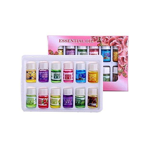 Aolvo defusser ätherisches Öl, 12Stück mit Bio-Pflanze, ätherisches Öl, für Aromatherapie Ätherische Öle Yoga Stress Relief-Reinigung-Kit für Spa Daily Living