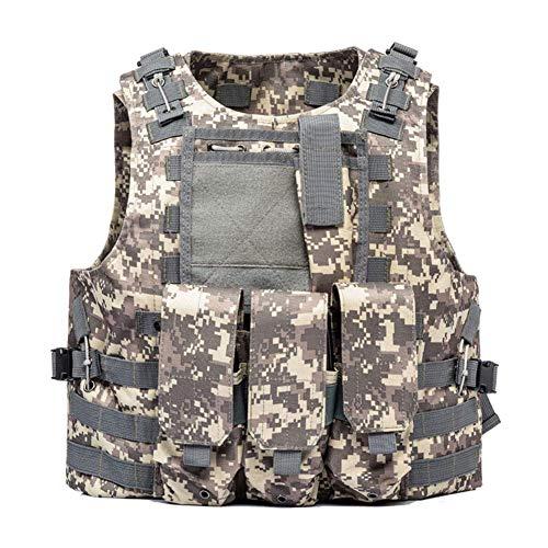 Jagd Taktische Weste - Herren Outdoor Casual Weste/Sicherheit Taktische Weste/Verschlüsselung 600D Oxford Weste/Camouflage Multi-Funktions-Multi-Pocket-Kapuzenweste,07 -