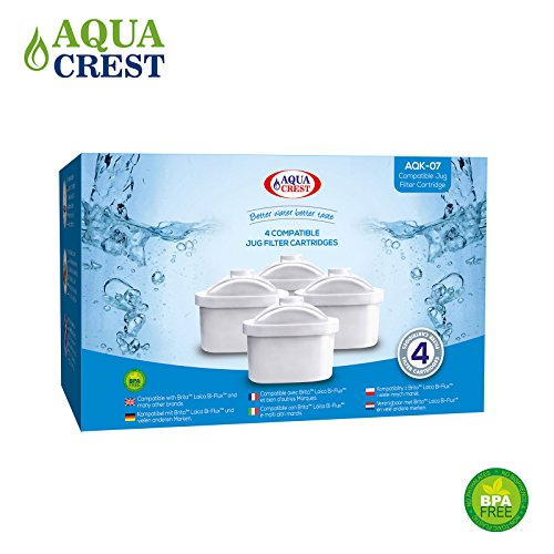 4 x AquaCrest AQK-07 Wasserkrugfilter Ersatz für Brita Maxtra, Mavea, Laica Bi-Flux, Dafi Unimax, Aquaphor Maxfor, AmazonBasics, PearlCo Unimax, Aluna Cool, Lauson AWF102, Aqua Optima Evolve, ANNA Duomax