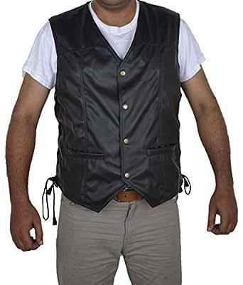 Walking Dead Engel Federn schwarz Kunstleder Vest (XXL)