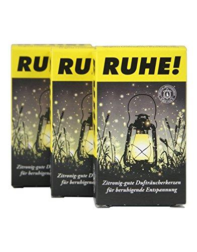 """Crottendorfer Räucherkerzen \""""RUHE!\"""" - mit leichtem zitronigen Duft um lästige Gäste zu vermeiden - 3er Pack in der Größe XL - 3 x 4 Stück - Made in Germany"""