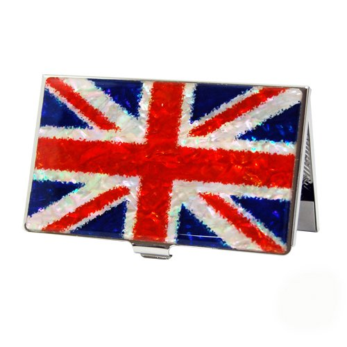 Porte carte de Visite Nacre Acier Inoxydable God save the Queen UK Royaume-Uni UNION JACK