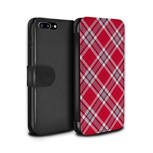 Stuff4 Coque/Etui/Housse Cuir PU Case/Cover pour Apple iPhone 8 Plus / Bleu Clair Design / Tartan Pique-Nique Motif Collection Rouge