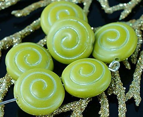 Matt Olive, Grün, Weiß, Flache Runde Münze Spirale Tschechische Glas Nautilus Ammonit Fossil Muschel Perlen 13mm 8pcs