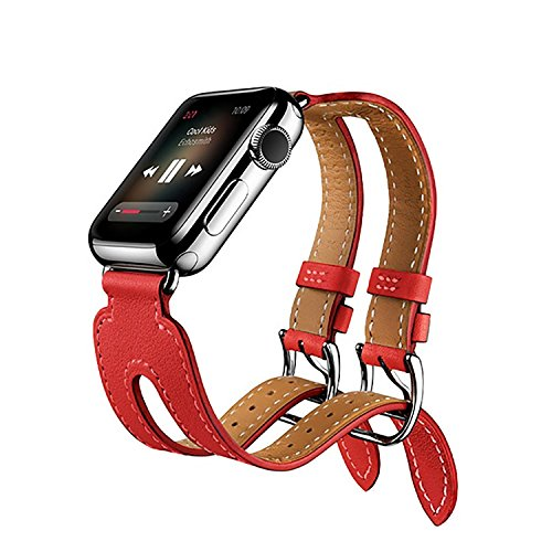 Preisvergleich Produktbild Für Apple Watch iWatch Armband 38mm/42mm, Kobwa Double Buckle Cuff Leder Apple Watch Band Wirstband Bracelet für Apple Watch Series 1/2