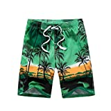 Mens Board Shorts - Quick Dry Swim Trunks Coconut Tree Printing Swimwear - Tropical Island Hawaiian Beach Shorts Swimming Shorts with Mesh Lining and Pocket (M / 74-94CM, green)