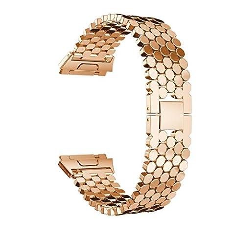 cebbay Edelstahl Sechseck Mesh mit Interlock Verschluss Ersatz-Armband Gurt für Fitbit Ionic Bands Größe L rose gold
