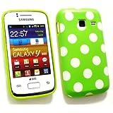 Emartbuy ® Samsung S6102 Galaxy Y Duos Polka Dots Gel Skin Cover / Case Grün / Weiß