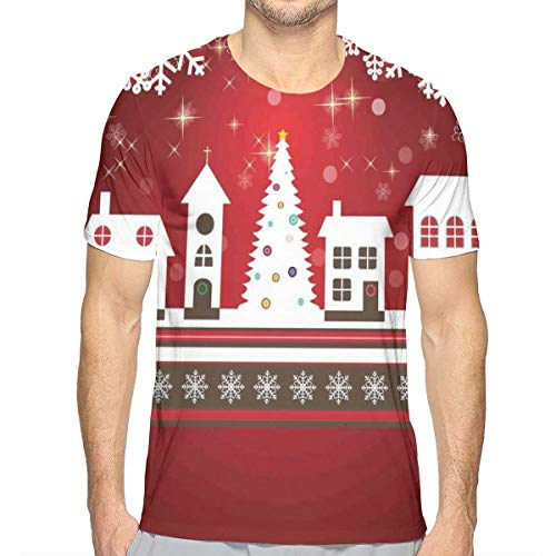 3D Printed T Shirts,Winter Holidays Theme Gingerbread House with Trees and Snowflakes Artwork Print XL -