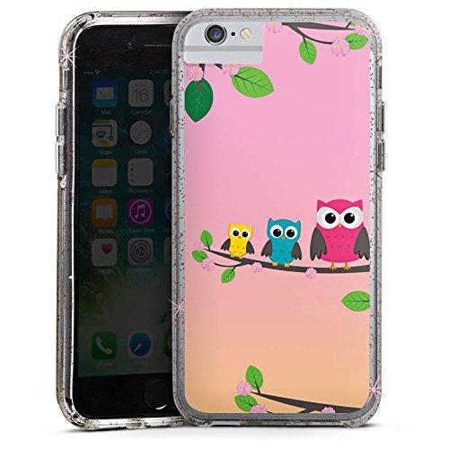 Apple iPhone X Bumper Hülle Bumper Case Glitzer Hülle Eule Eulen Owl Bumper Case Glitzer rose gold