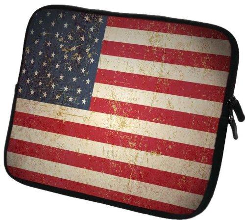 """6 Zoll Tolino Vision 3 HD / Shine 2 HD eBook-Reader Schutzhülle - sehr hochwertige & edel verarbeitete eReader Tasche aus wasserfesten Neopren mit eingenähter Doppelnaht, premium Reißverschluss und aufwendigen Designeraufdruck! Die Hülle eignet sich für eBook diverser Hersteller bis 165x120mm ( zirka 5,8"""" bis 6,3"""" ) Vintage USA-Flagge"""