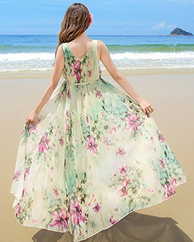 Medeshe - Robe - Tunique - Sans Manche - Femme multicolore Multicoloured Green Watery Floral