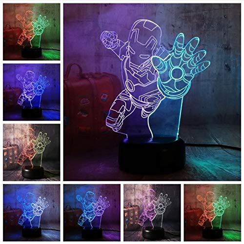 Marvel Hero Fly Iron Man 3D LED Veilleuse Lampe de Bureau Multicolore RGB Ampoule Décor À La Maison De Noël Enfants Cadeau de Bande Dessinée Jouets Lustre
