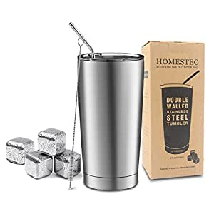 21 oz Double Wall Stainless Steel Tumbler - HOMESTEC High Capacity Vacuum Insulated Travel Tumbler with Spill Proof Splash Resistant Lid Included Straw and Cleaning Brush and Stainless Steel Ice Cub