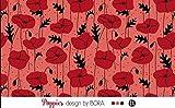Lillestoff Modal Poppies Mohnblumen Herbst Coral *** 50 cm