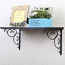ROSENICE 2pcs Wandhalter Regalhalter Regalträger - Floral Style (schwarz)