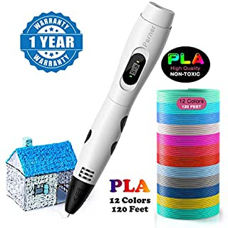 3D Printing Pen, Parner 3D Doodler Pen with LCD Screen, Safe and Easy to Use 3D Pens for Kids Adults, 3D Drawing Pen with 12 Colors PLA Filament Refills (White)