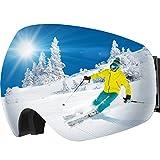 Maschera da Sci, OMORC Occhiali da Snowboard, Super-Grandangolo Lente Sferica a Doppia Strato, NESSUN Appanamento Trattamento di Protezione UV400, per Donna e Uomo, Ideale per Sport Invernali, Grigio