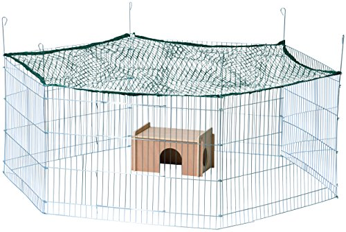 dobar 80592 6-eckiges XXL Freilaufgehege groß, Kaninchengehege aus Metall mit Nylon Netz, Holz Häuschen, für draußen wetterfest, 165 x 145 x 60 cm, silber -