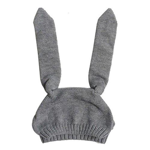 Babybekleidung Hüte & Mützen Longra Baby Kinder Mädchen Jungen gestrickt häkeln Kaninchen Ohr Beanie Warm Winter Hüte Mütze (8 Monate-2Jahre) (Gray)