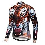 Qianliuk Wolf Tiger Lion Printed Radtrikot mit Taschen,Quick Dry Anti-Sweat reflektierende Langarm Herbst Winter Fahrradbekleidung Frühling Motorrad Fahrrad Top Shirt